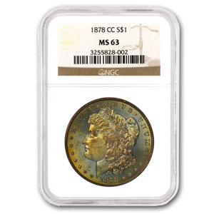 1878-CC Morgan Dollar MS-63 NGC (Green & Gold Toning)
